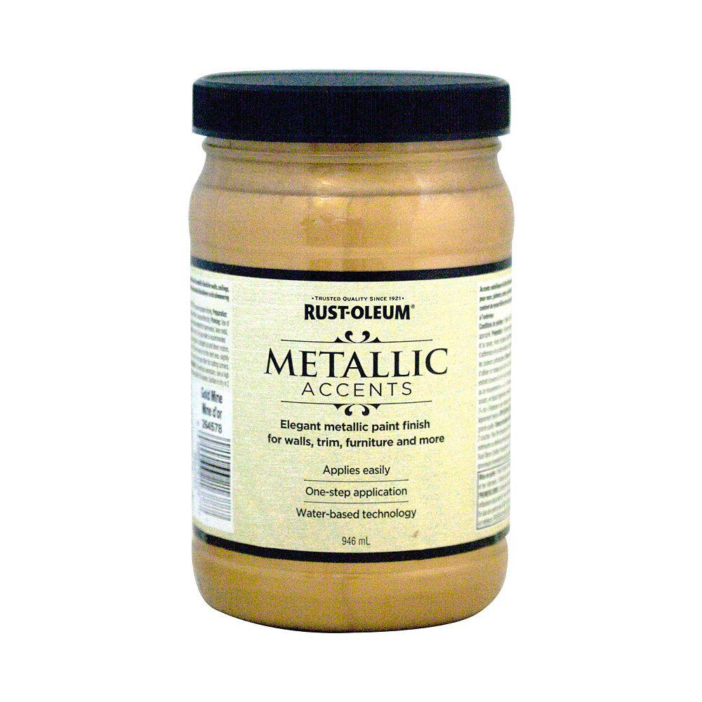 Rust-Oleum Metallic Accents Water Based Metallic Finish in Gold Mine, 946 mL