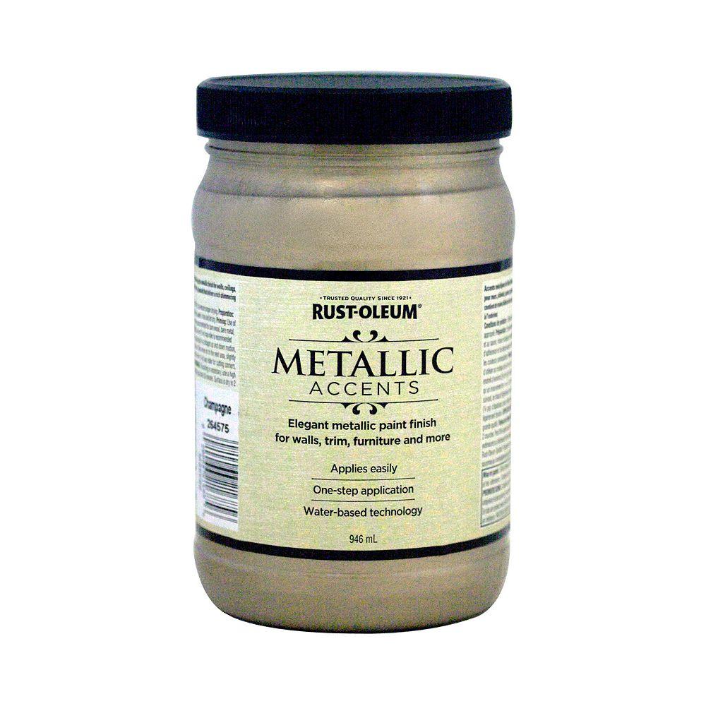 Rust-Oleum Metallic Accents Water Based Metallic Finish in Champagne, 946 mL