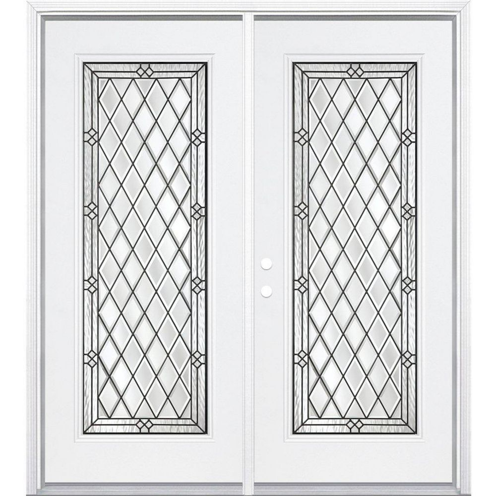 Masonite 64-inch x 80-inch x 4 9/16-inch Antique Black Full Lite Right Hand Entry Door with Brickmould