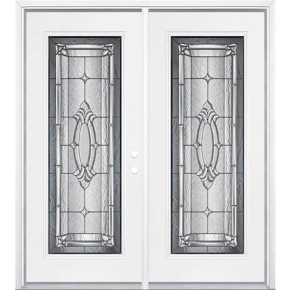 Masonite 68-inch x 80-inch x 6 9/16-inch Antique Black Full Lite Left Hand Entry Door with Brickmould