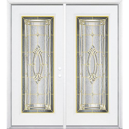 Masonite 64-inch x 80-inch x 6 9/16-inch Providence Brass Full Lite Left Hand Entry Door with Brickmould