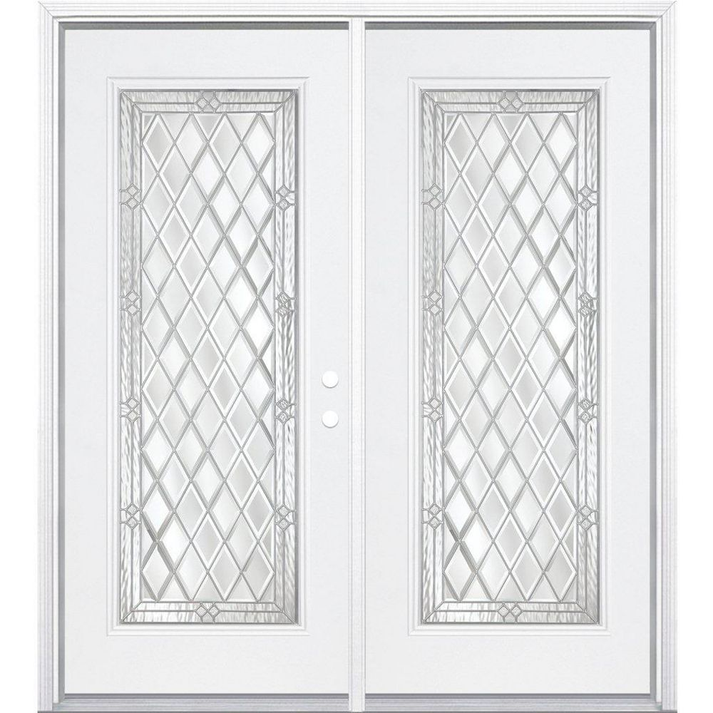 Masonite 64-inch x 80-inch x 6 9/16-inch Halifax Nickel Full Lite Left Hand Entry Door with Brickmould