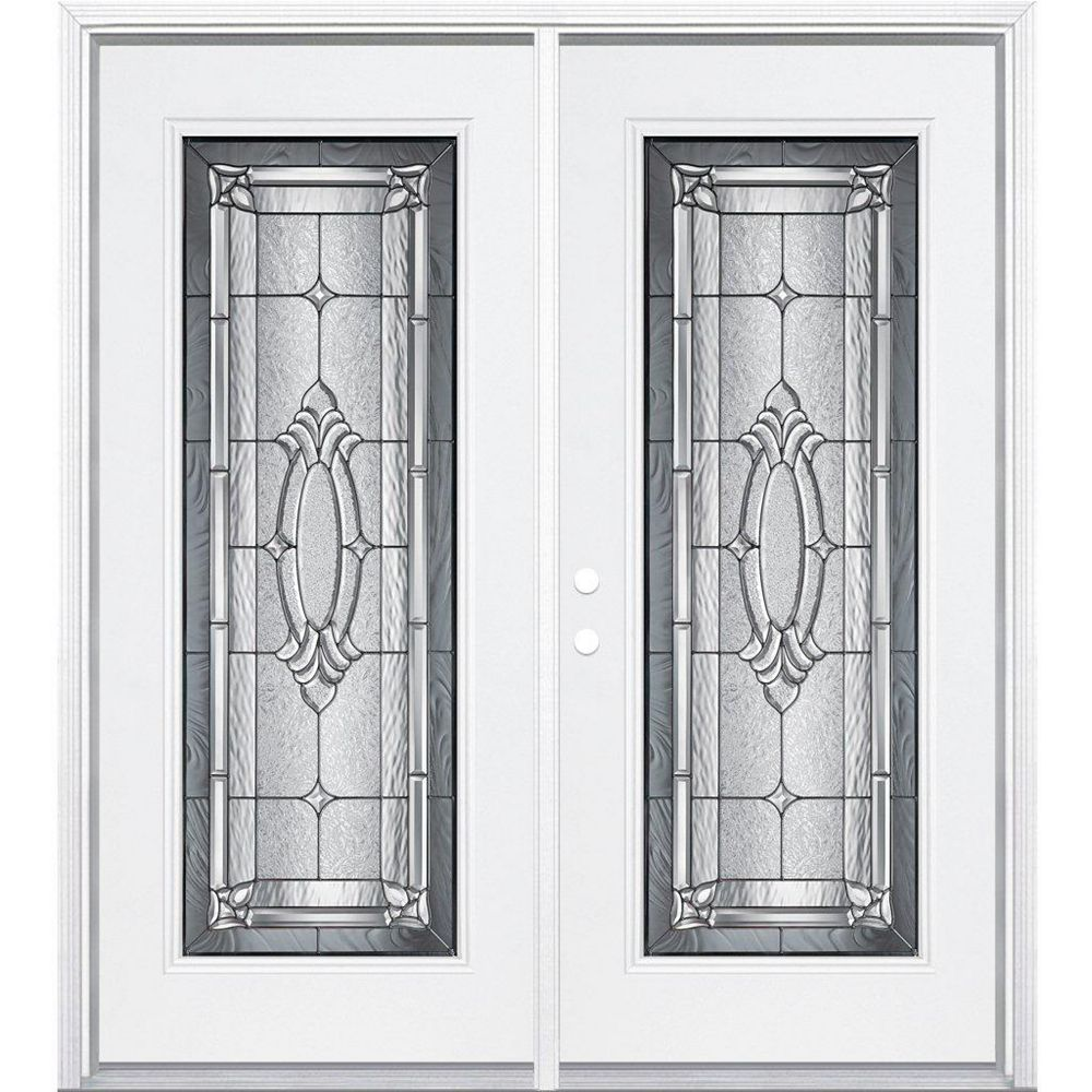 Masonite 72-inch x 80-inch x 4 9/16-inch Providence Antique Black Full Lite Right Hand Entry Door with Brickmould