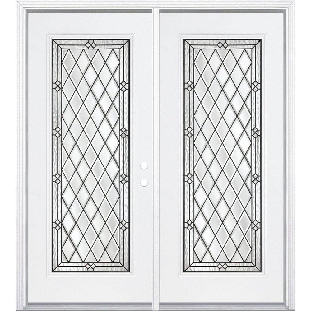 Masonite 68-inch x 80-inch x 6 9/16-inch Halifax Antique Black Full Lite Left Hand Entry Door with Brickmould