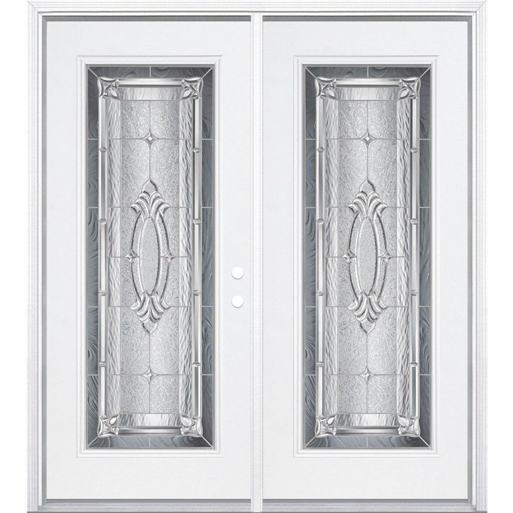 Masonite 64-inch x 80-inch x 6 9/16-inch Providence Nickel Full Lite Left Hand Entry Door with Brickmould