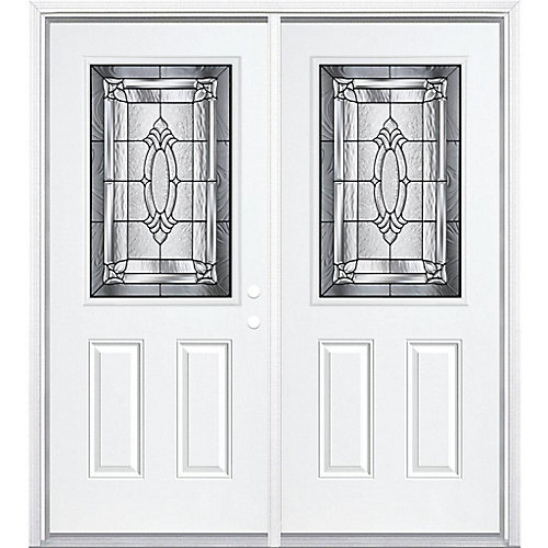64-inch x 80-inch x 6 9/16-inch Antique Black 1/2-Lite Left Hand Entry Door with Brickmould - ENERGY STAR®