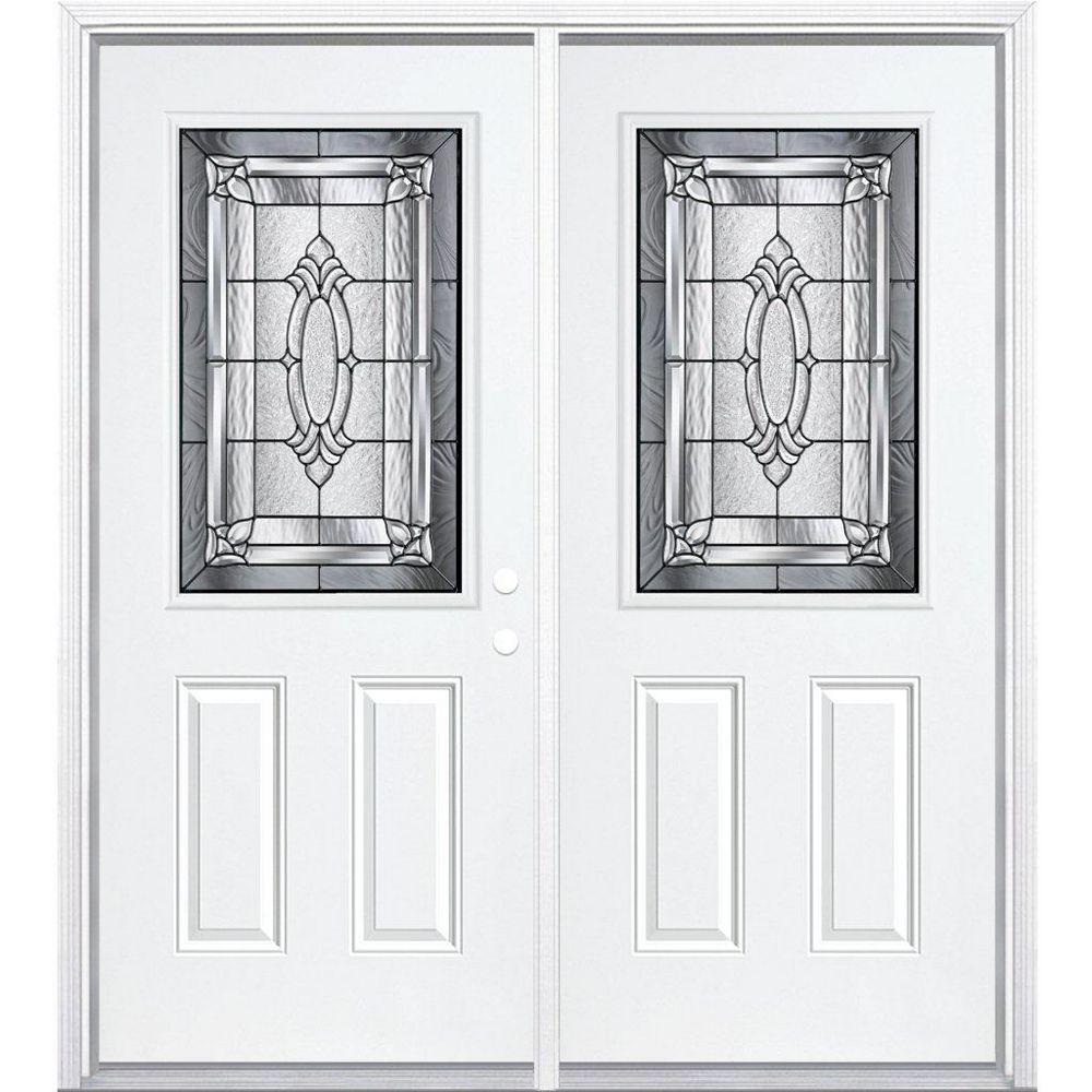 Masonite 64-inch x 80-inch x 6 9/16-inch Antique Black 1/2-Lite Left Hand Entry Door with Brickmould