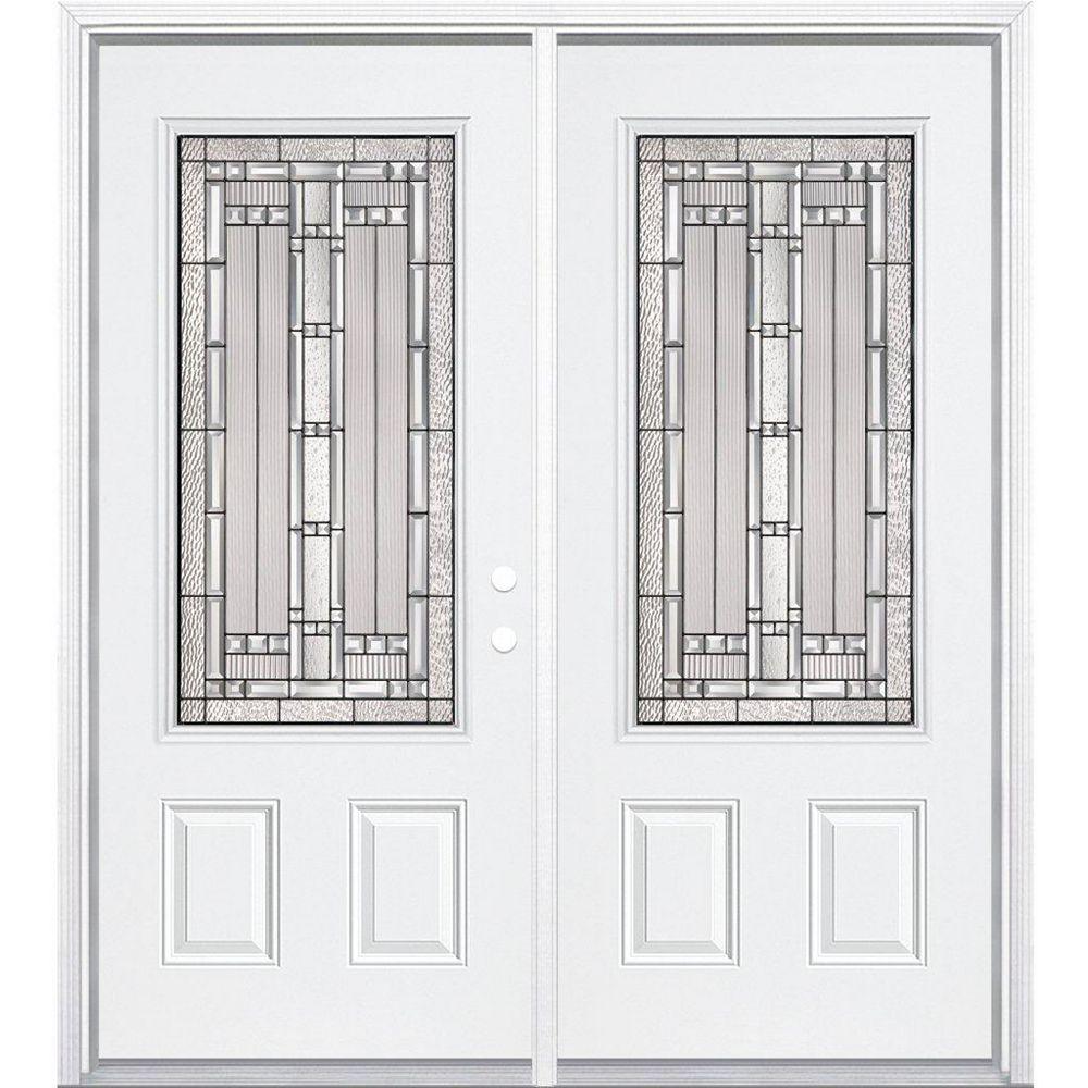 Masonite 64-inch x 80-inch x 6 9/16-inch Antique Black 3/4-Lite Left Hand Entry Door with Brickmould