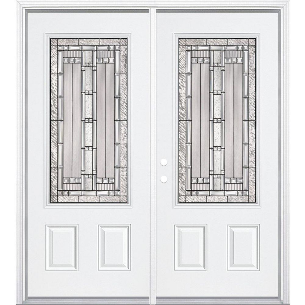 Masonite 64-inch x 80-inch x 6 9/16-inch Antique Black 3/4-Lite Right Hand Entry Door with Brickmould