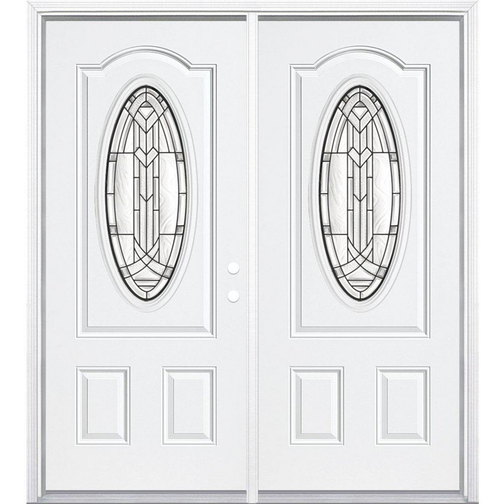 Masonite 68-inch x 80-inch x 6 9/16-inch Antique Black 3/4 Oval Lite Left Hand Entry Door with Brickmould