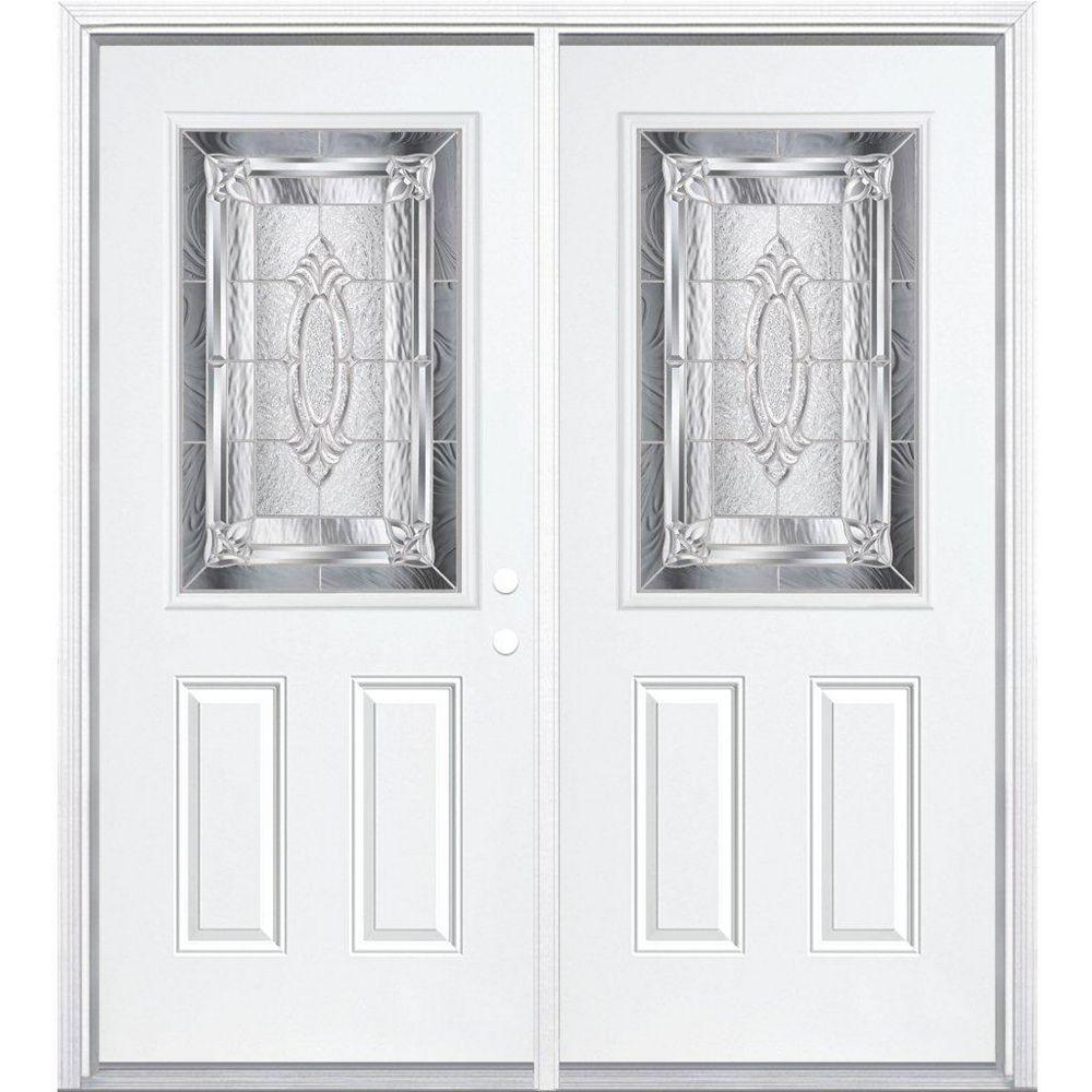 Masonite 64-inch x 80-inch x 4 9/16-inch Nickel 1/2-Lite Left Hand Entry Door with Brickmould