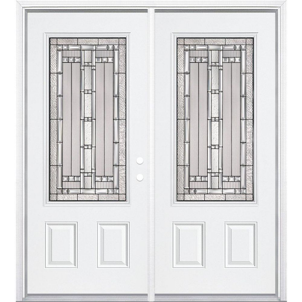 Masonite 72-inch x 80-inch x 6 9/16-inch Antique Black 3/4-Lite Left Hand Entry Door with Brickmould