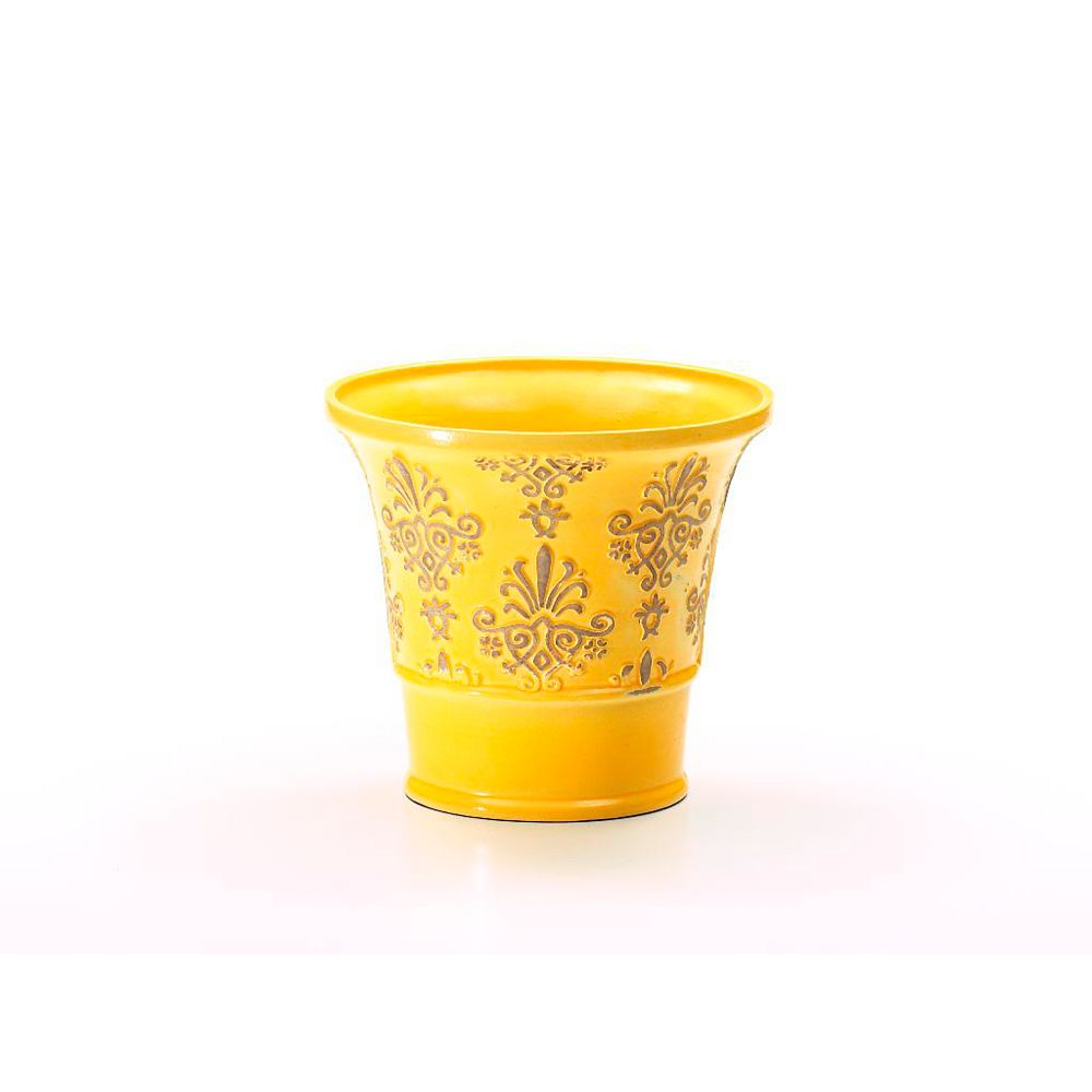 Grapevine Damask Planter With Saucer - 8 Inches x 7 Inches