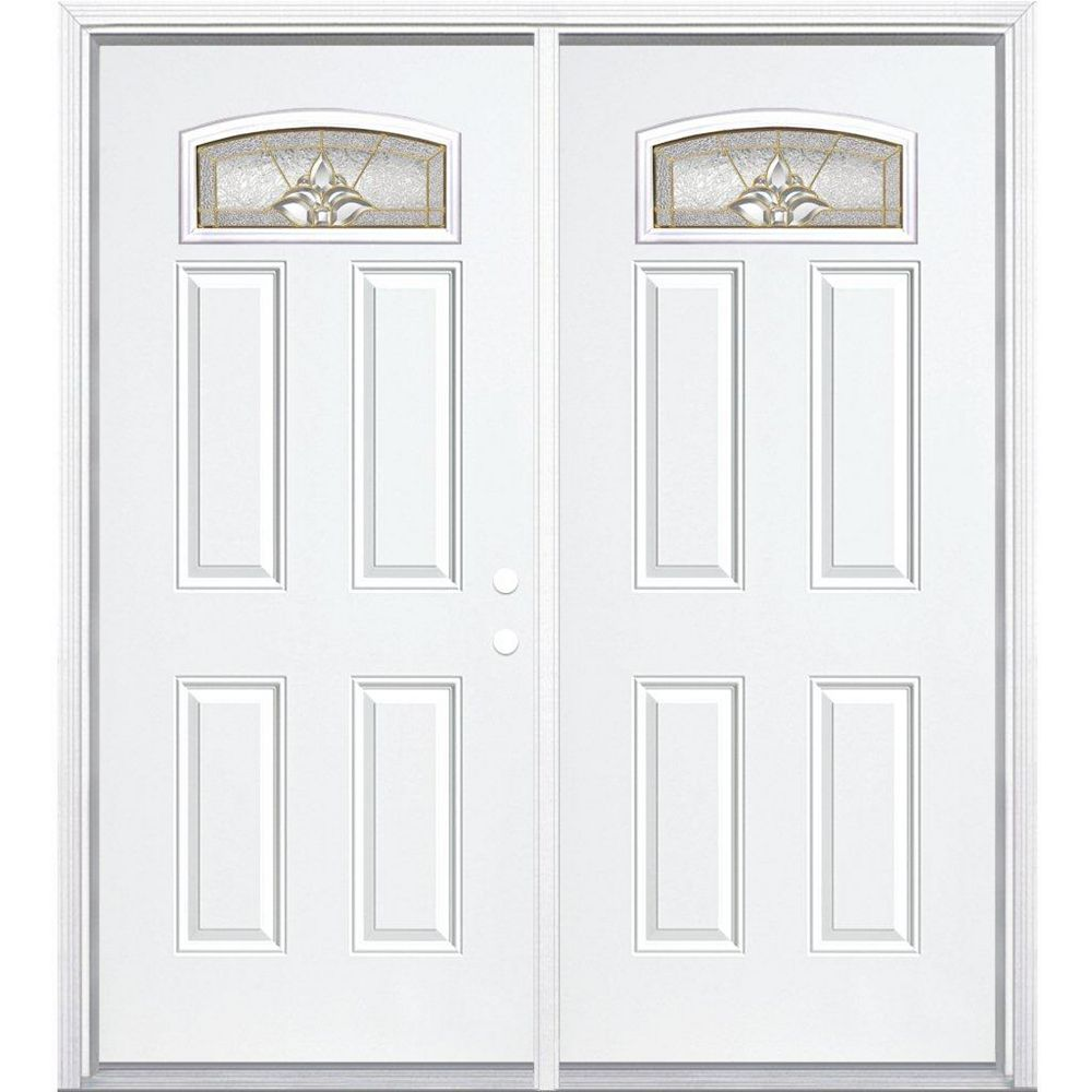 Masonite 68-inch x 80-inch x 4 9/16-inch Brass Camber Fan Lite Left Hand Entry Door with Brickmould - ENERGY STAR®