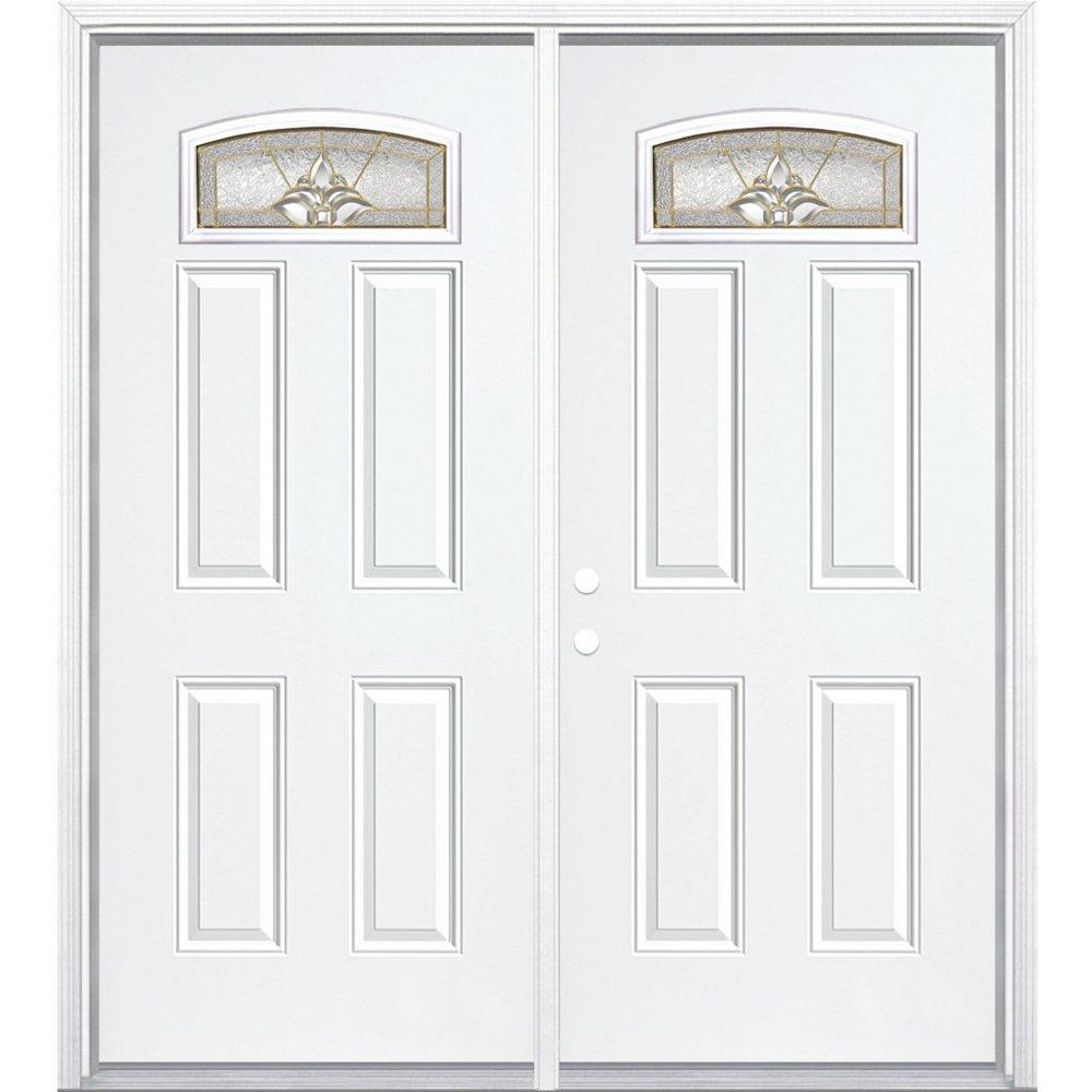 Masonite 64-inch x 80-inch x 4 9/16-inch Brass Camber Fan Lite Right Hand Entry Door with Brickmould - ENERGY STAR®