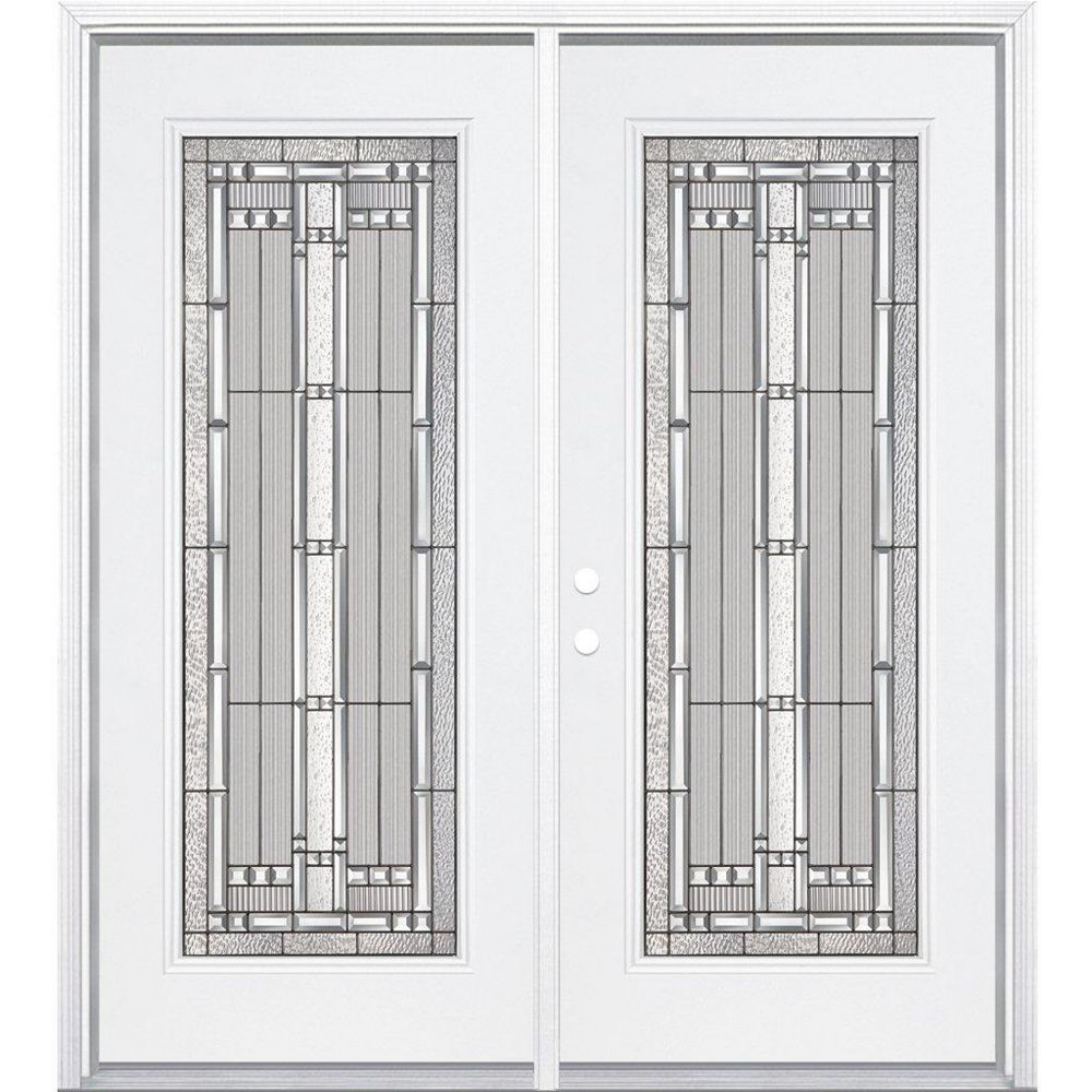 Masonite 64-inch x 80-inch x 4 9/16-inch Antique Black Camber Full Lite Right Hand Entry Door with Brickmould