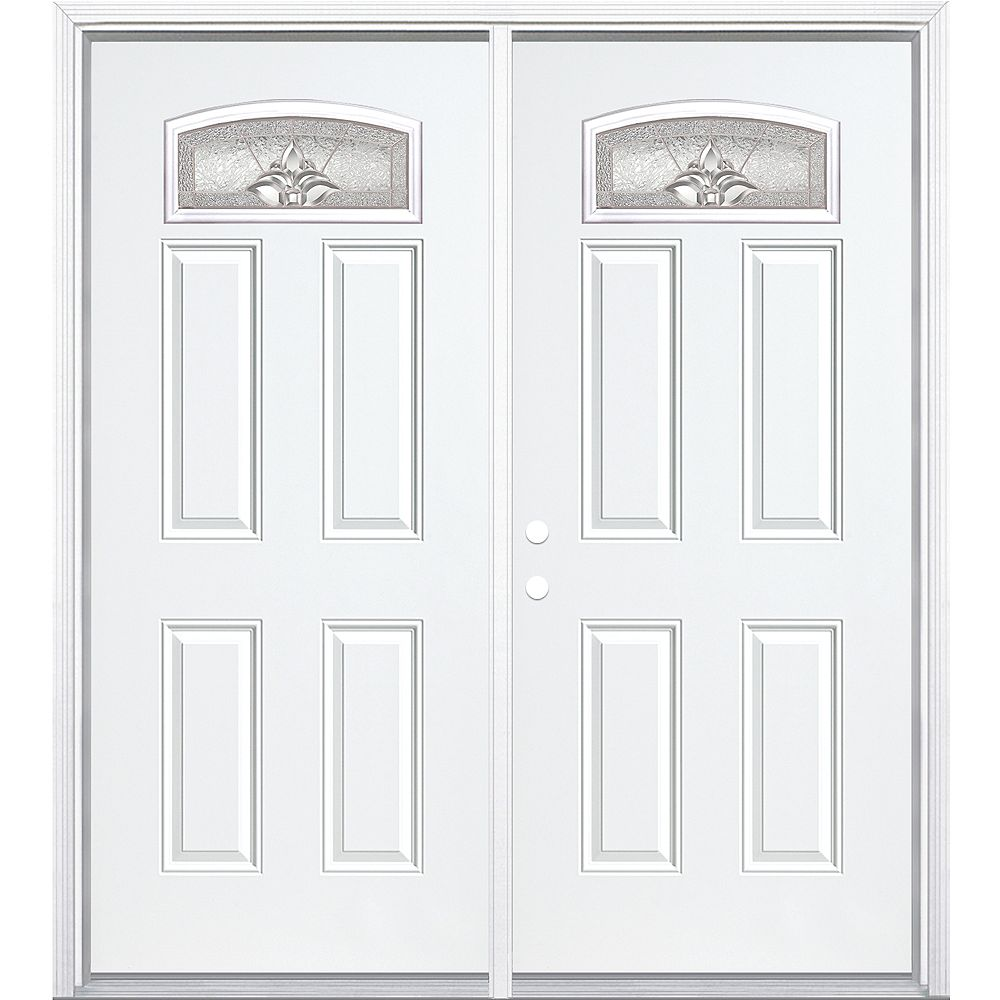 Masonite 64-inch x 80-inch x 6 9/16-inch Nickel Camber Fan Lite Right Hand Entry Door with Brickmould - ENERGY STAR®