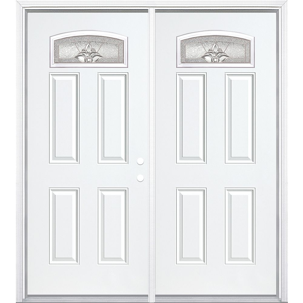 Masonite 68-inch x 80-inch x 4 9/16-inch Nickel Camber Fan Lite Left Hand Entry Door with Brickmould - ENERGY STAR®