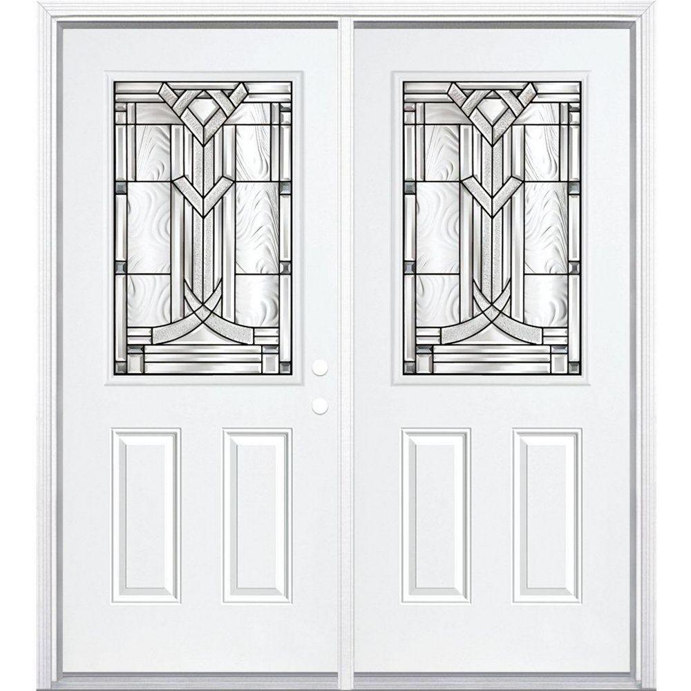 Masonite 64-inch x 80-inch x 4 9/16-inch Antique Black 1/2-Lite Left Hand Entry Door with Brickmould