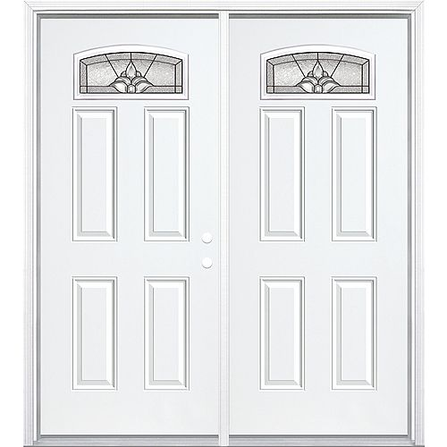 """Masonite 72""""x80""""x4 9/16"""" Providence noir antique d. lune cambré porte d'entrée moul. à brique m. droite - ENERGY STAR®"""