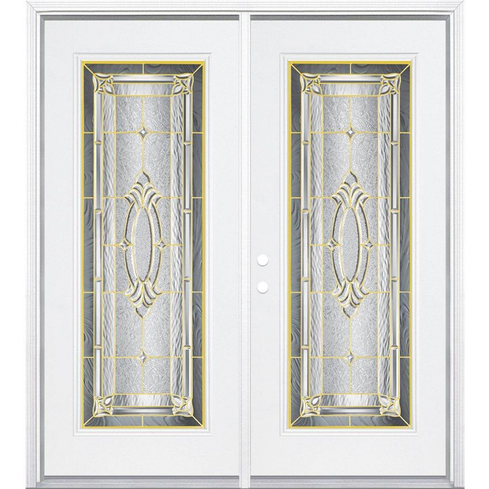 Masonite 72-inch x 80-inch x 6 9/16-inch Brass Full Lite Right Hand Entry Door with Brickmould