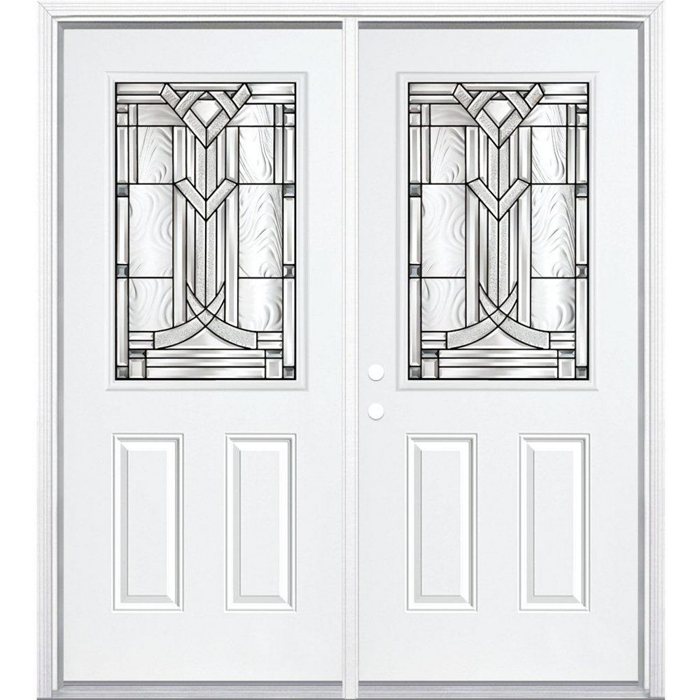 Masonite 64-inch x 80-inch x 6 9/16-inch Antique Black 1/2-Lite Right Hand Entry Door with Brickmould