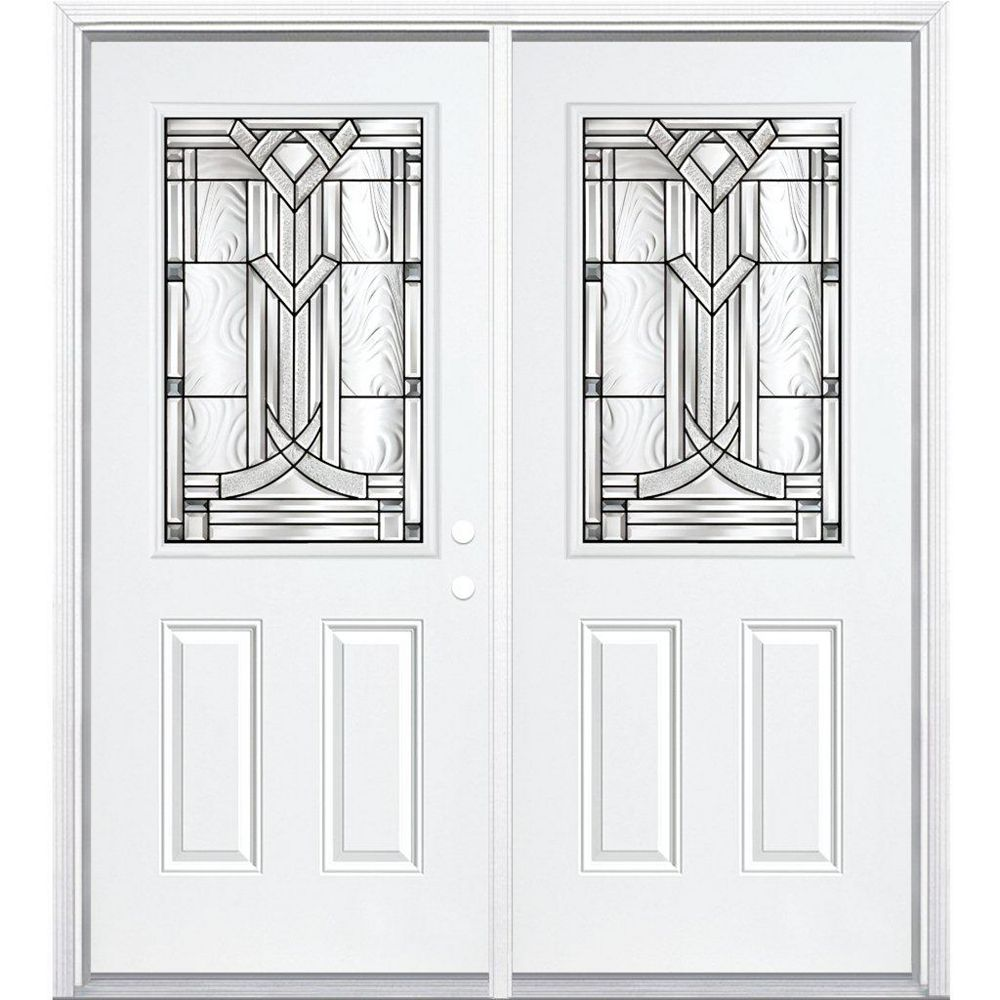 Masonite 68-inch x 80-inch x 4 9/16-inch Antique Black 1/2-Lite Left Hand Entry Door with Brickmould