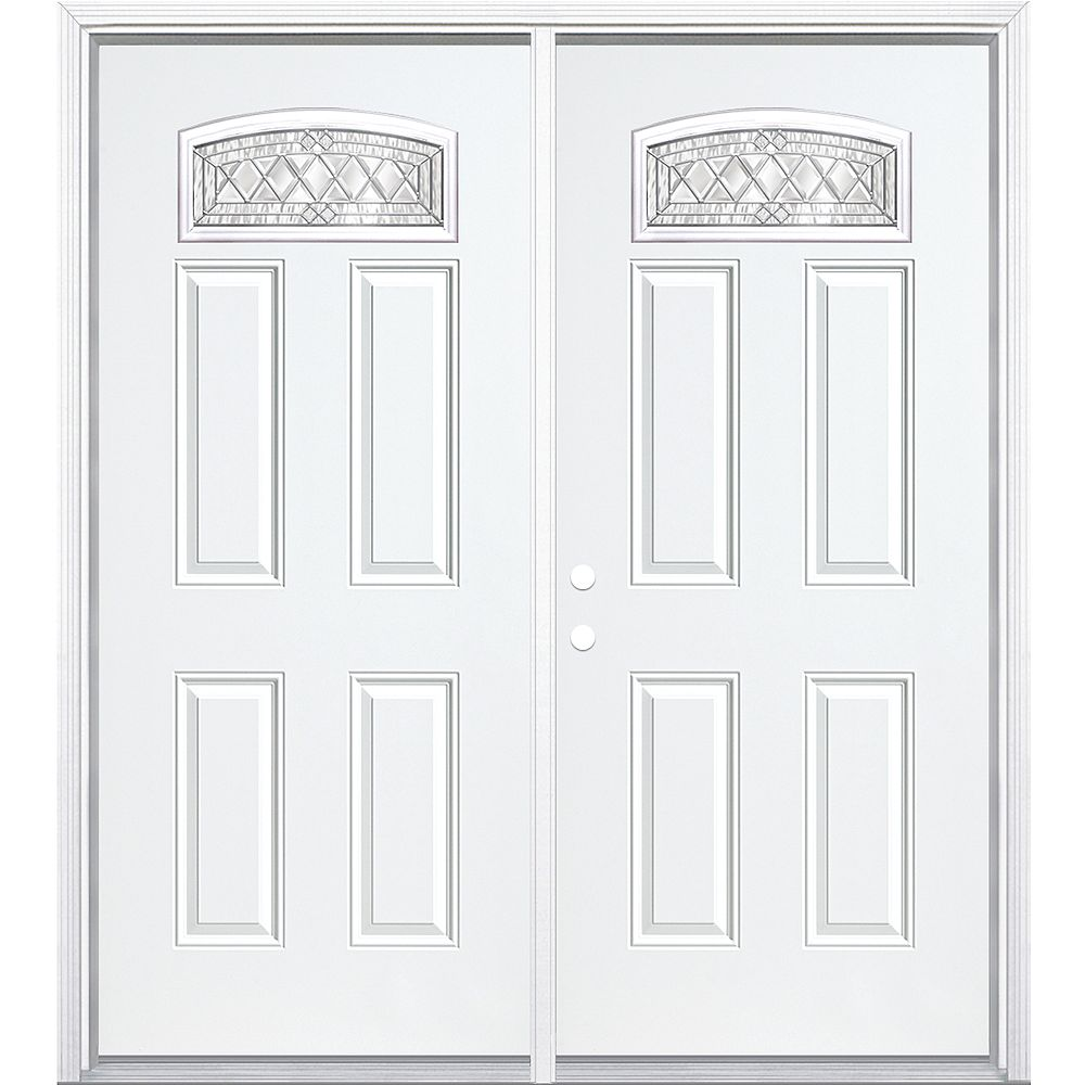 Masonite 68-inch x 80-inch x 4 9/16-inch Nickel Camber Fan Lite Right Hand Entry Door with Brickmould - ENERGY STAR®