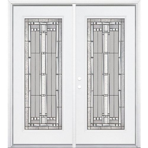 64-inch x 80-inch x 6 9/16-inch Antique Black Camber Full Lite Right Hand Entry Door with Brickmould