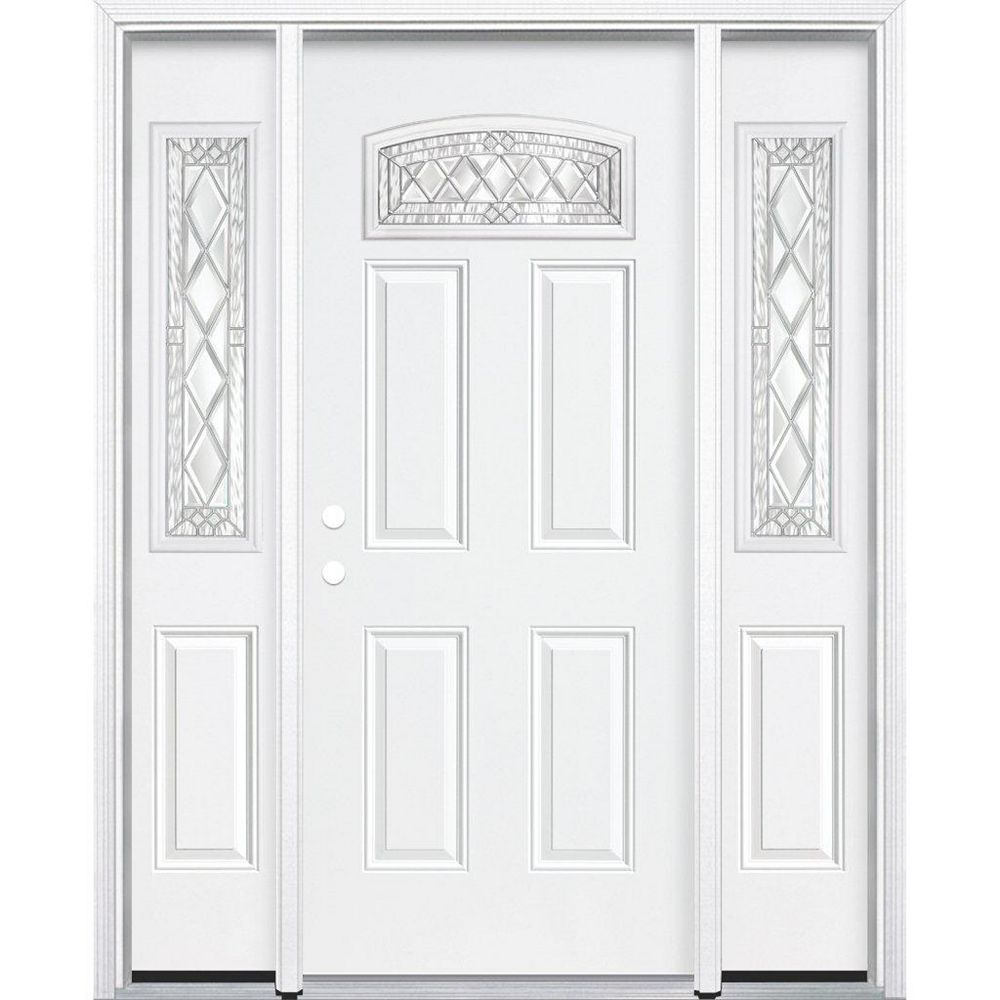 Masonite 69-inch x 80-inch x 6 9/16-inch Nickel Camber Fan Lite Right Hand Entry Door with Brickmould - ENERGY STAR®