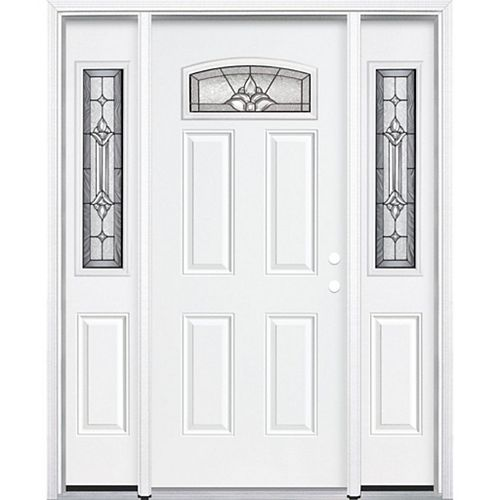 69-inch x 80-inch x 4 9/16-inch Antique Black Camber Fan Lite Left Hand Entry Door with Brickmould - ENERGY STAR®