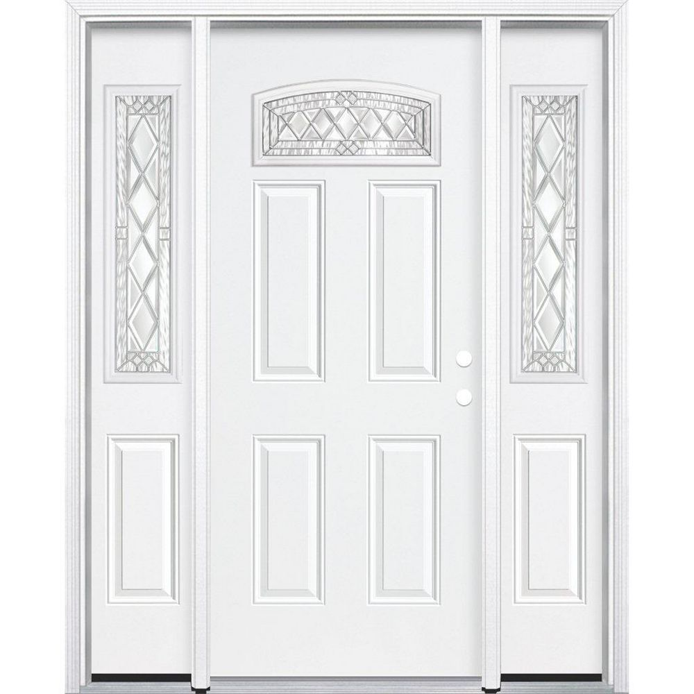 Masonite 69-inch x 80-inch x 4 9/16-inch Nickel Camber Fan Lite Left Hand Entry Door with Brickmould - ENERGY STAR®