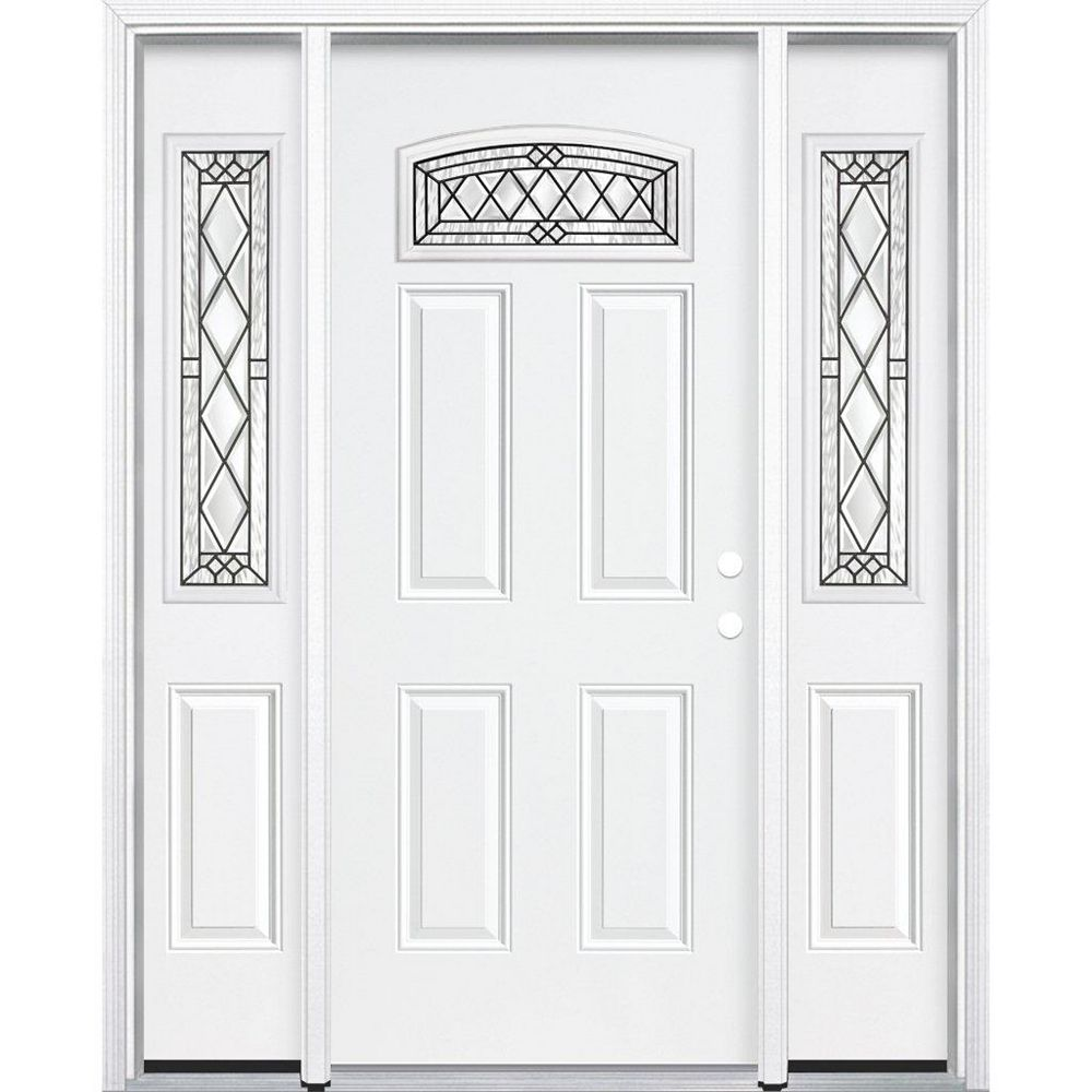 Masonite 69-inch x 80-inch x 6 9/16-inch Antique Black Camber Fan Lite Left Hand Entry Door with Brickmould - ENERGY STAR®