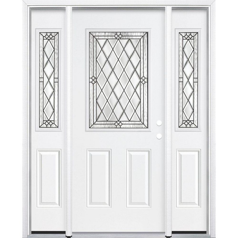 Masonite 67-inch x 80-inch x 4 9/16-inch Antique Black 1/2-Lite Left Hand Entry Door with Brickmould