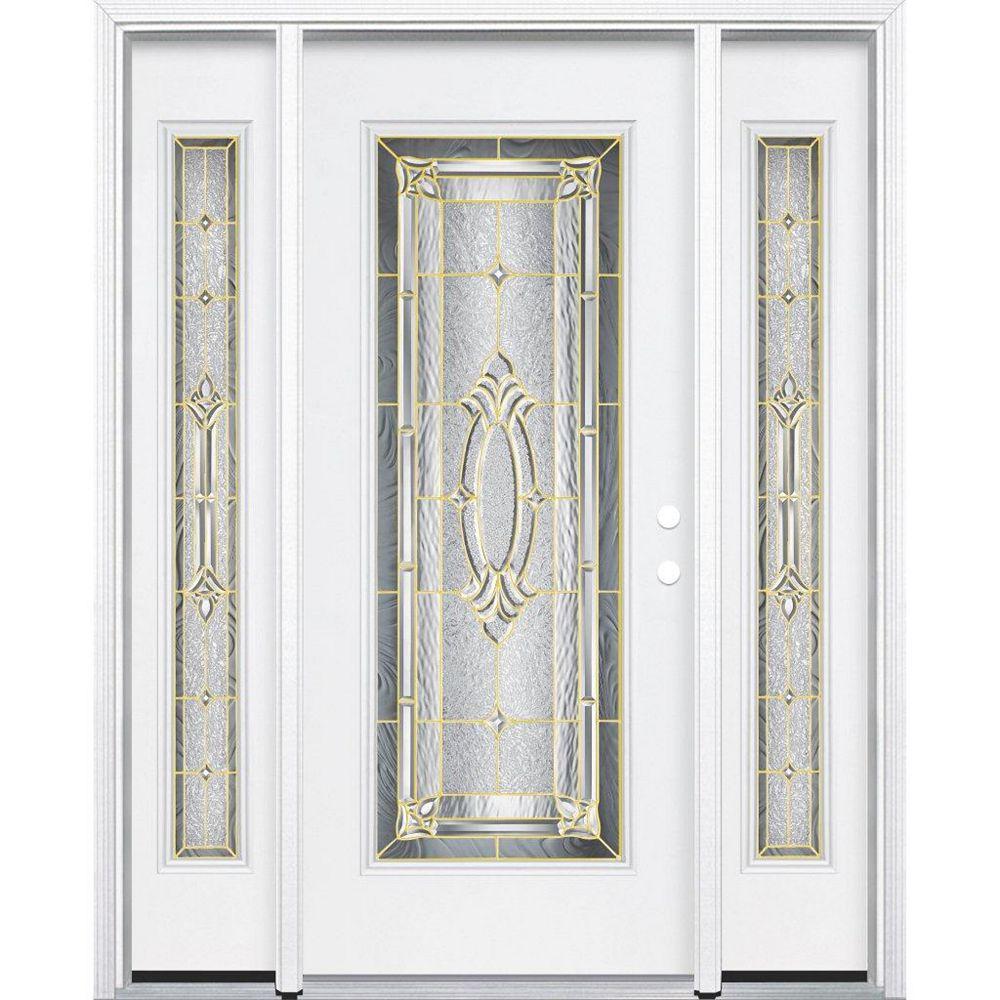 Masonite 65-inch x 80-inch x 6 9/16-inch Brass Full Lite Left Hand Entry Door with Brickmould
