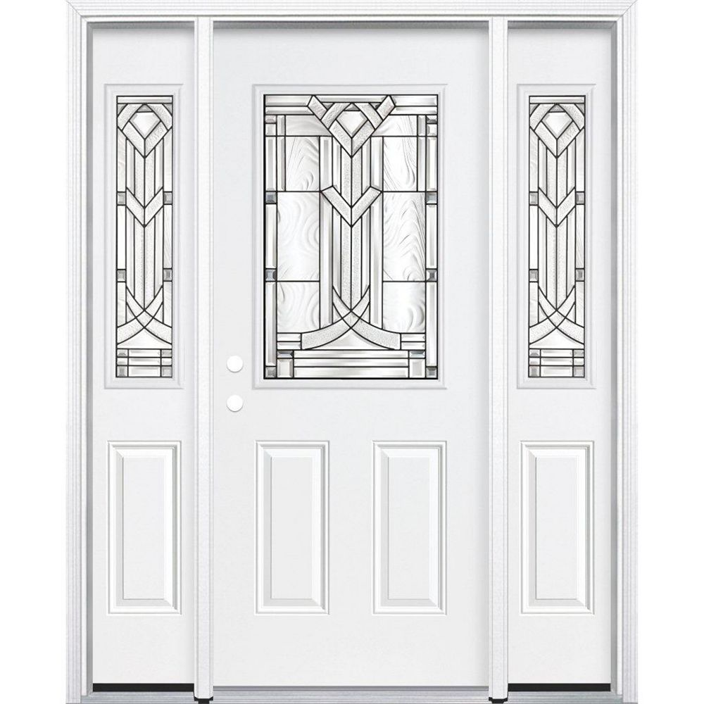 Masonite 67-inch x 80-inch x 6 9/16-inch Antique Black 1/2-Lite Right Hand Entry Door with Brickmould