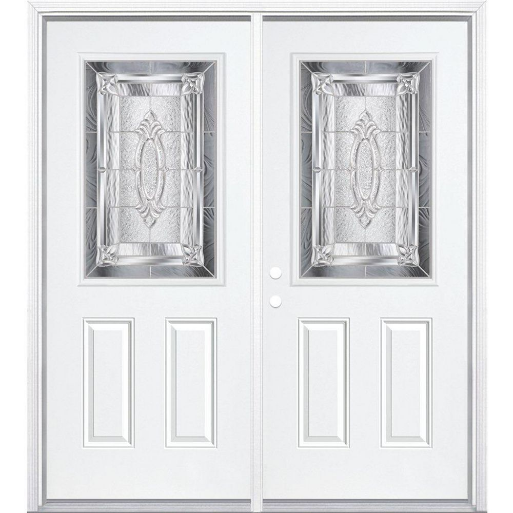 Masonite 68-inch x 80-inch x 6 9/16-inch Nickel 1/2-Lite Right Hand Entry Door with Brickmould