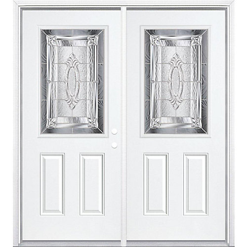 64-inch x 80-inch x 6 9/16-inch Nickel 1/2-Lite Left Hand Entry Door with Brickmould - ENERGY STAR®