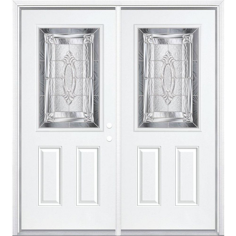 Masonite 64-inch x 80-inch x 6 9/16-inch Nickel 1/2-Lite Left Hand Entry Door with Brickmould