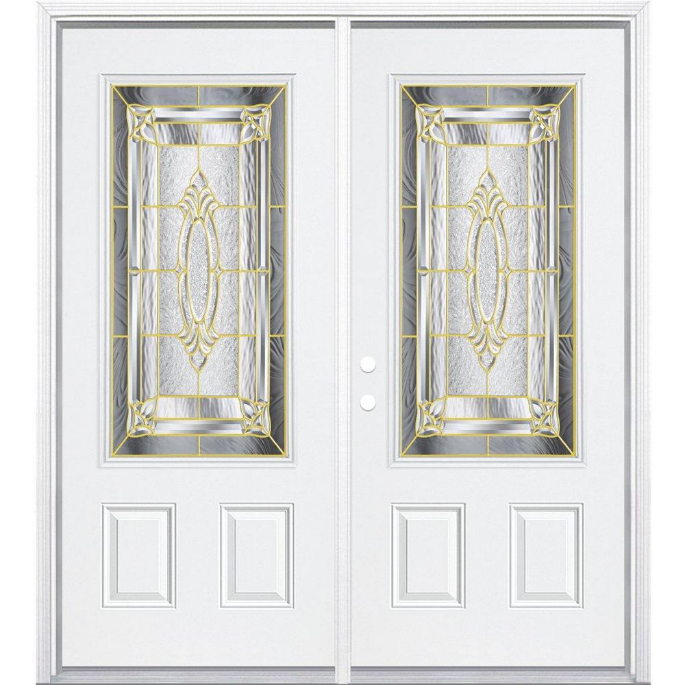 Masonite 64-inch x 80-inch x 6 9/16-inch Brass 3/4-Lite Right Hand Entry Door with Brickmould