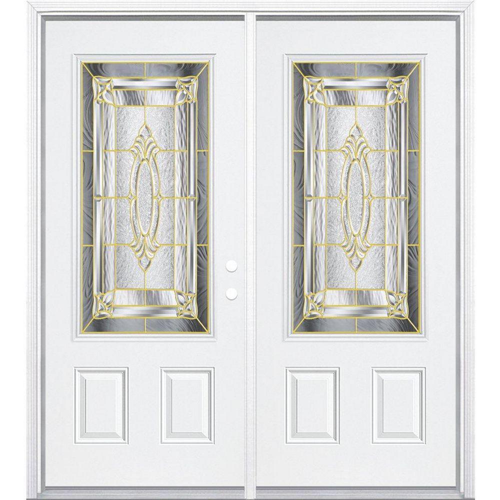 Masonite 64-inch x 80-inch x 4 9/16-inch Brass 3/4-Lite Left Hand Entry Door with Brickmould