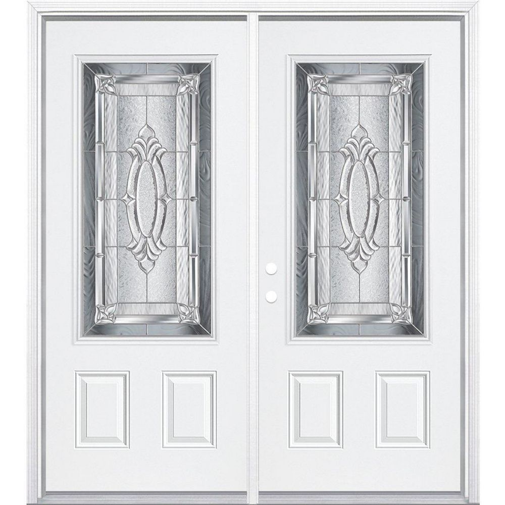 Masonite 72-inch x 80-inch x 6 9/16-inch Nickel 3/4-Lite Right Hand Entry Door with Brickmould