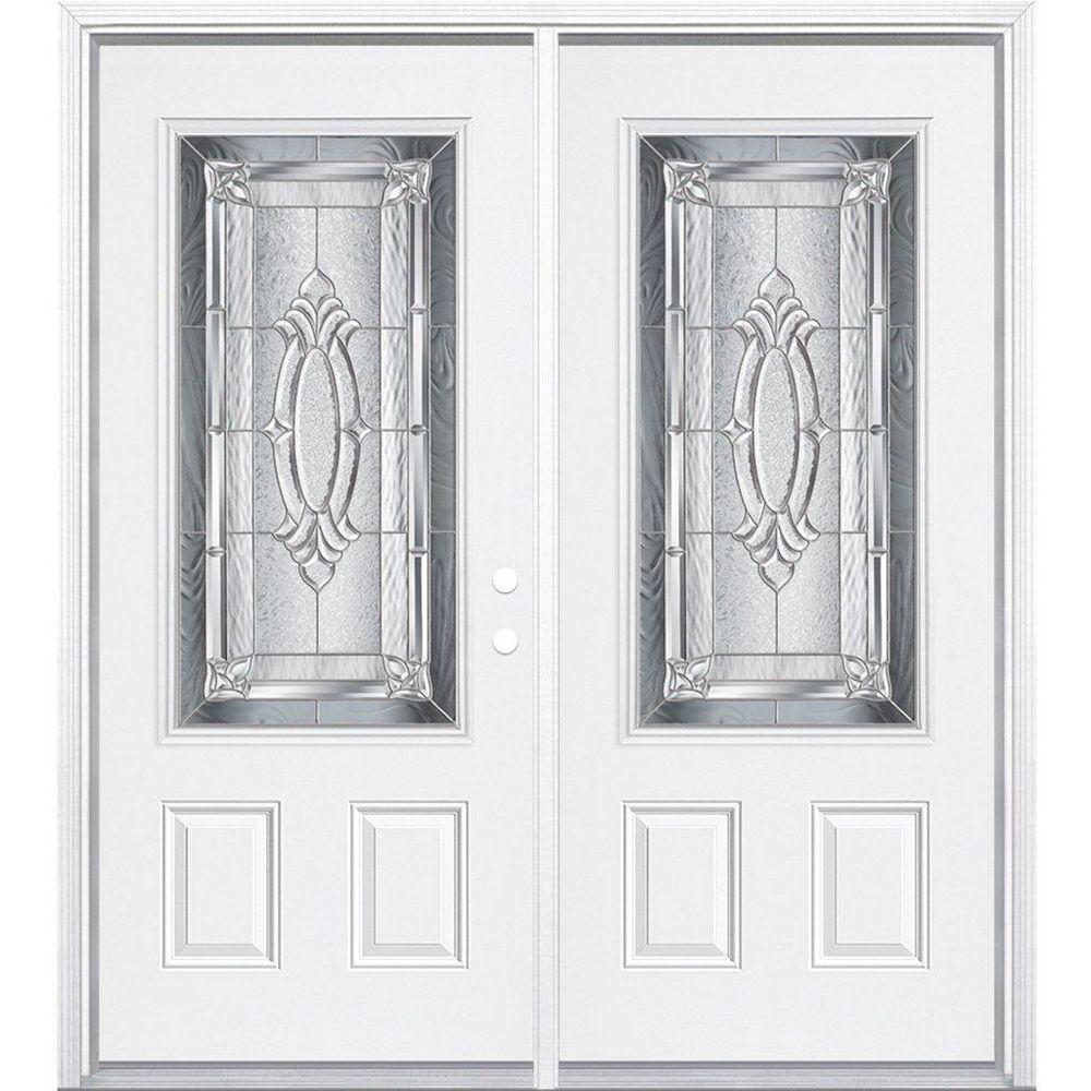 Masonite 64-inch x 80-inch x 6 9/16-inch Nickel 3/4-Lite Left Hand Entry Door with Brickmould