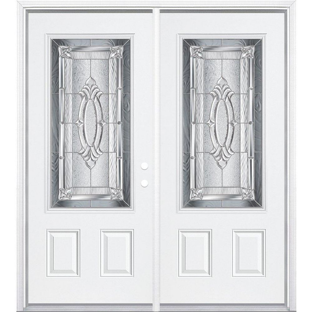 Masonite 72-inch x 80-inch x 4 9/16-inch Nickel 3/4-Lite Left Hand Entry Door with Brickmould