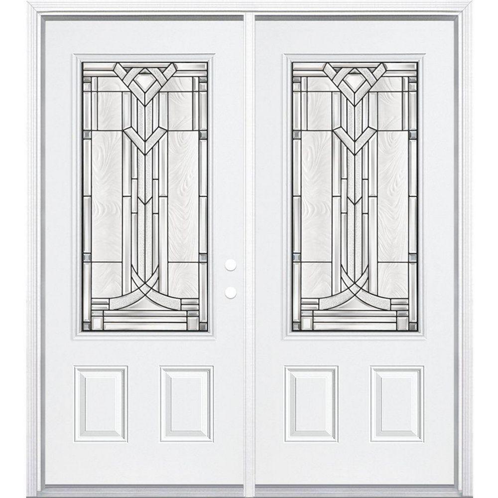Masonite 64-inch x 80-inch x 4 9/16-inch Antique Black 3/4-Lite Left Hand Entry Door with Brickmould