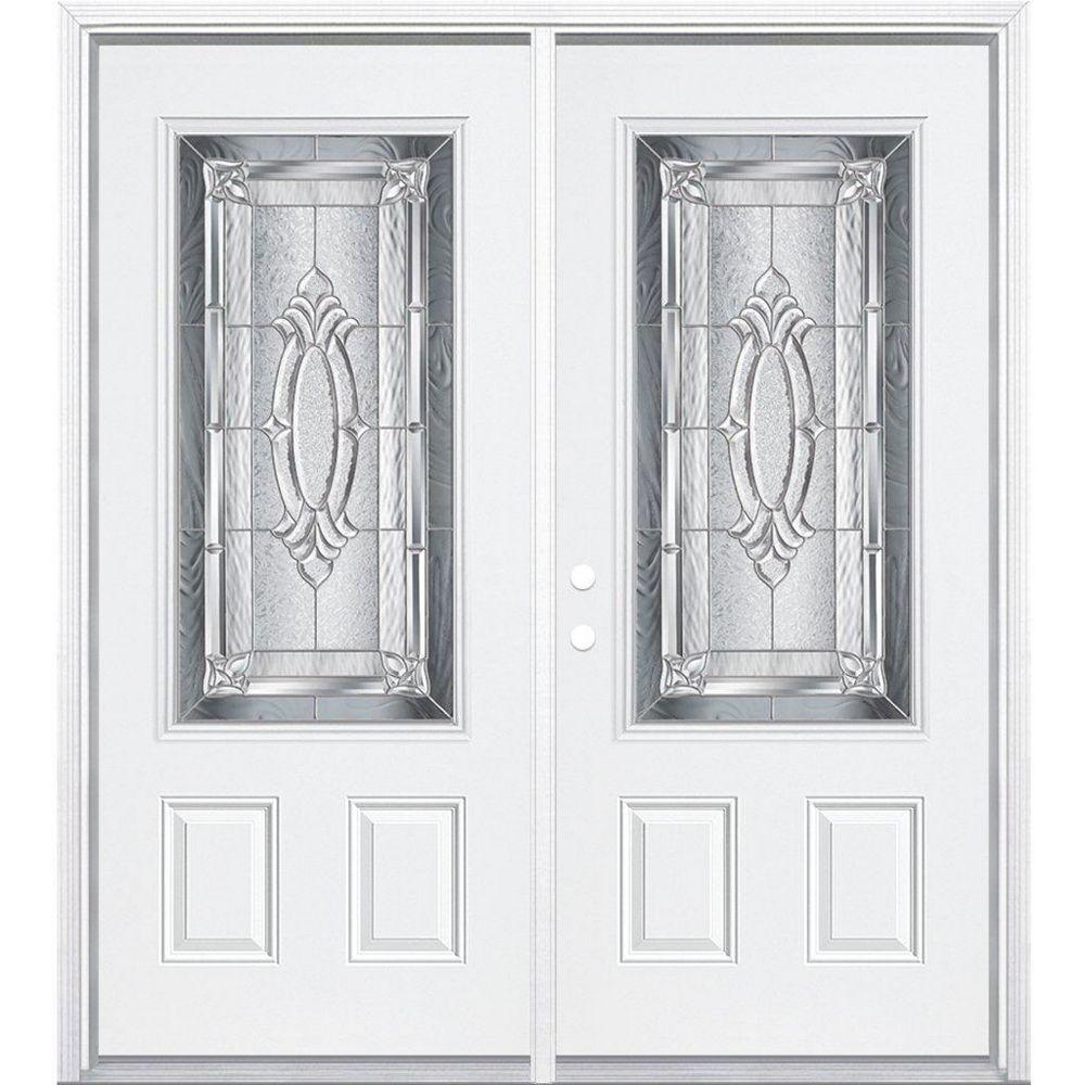 Masonite 64-inch x 80-inch x 6 9/16-inch Nickel 3/4-Lite Right Hand Entry Door with Brickmould