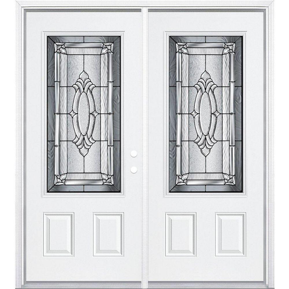 Masonite 72-inch x 80-inch x 4 9/16-inch Antique Black 3/4-Lite Left Hand Entry Door with Brickmould