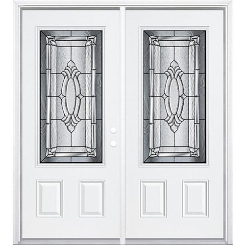 Masonite 68-inch x 80-inch x 6 9/16-inch Antique Black 3/4-Lite Left Hand Entry Door with Brickmould