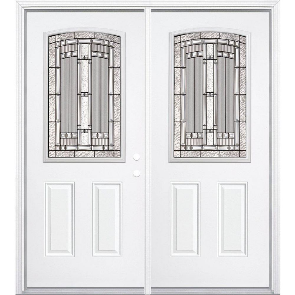 Masonite 72-inch x 80-inch x 6 9/16-inch Antique Black Camber 1/2-Lite Left Hand Entry Door with Brickmould