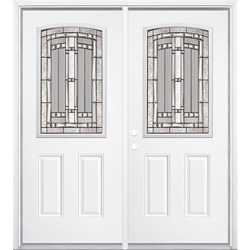 68-inch x 80-inch x 6 9/16-inch Antique Black Camber 1/2-Lite Right Hand Entry Door with Brickmould